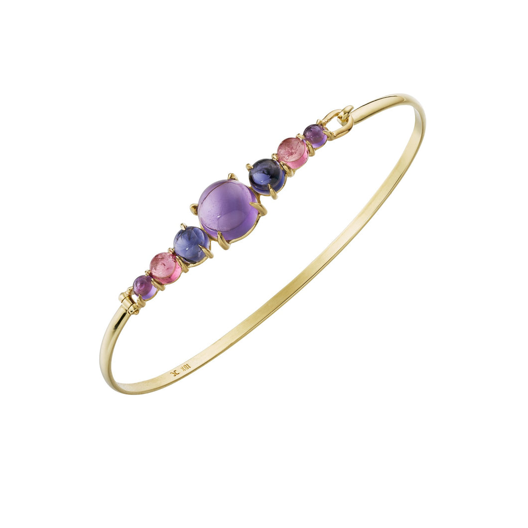 Cabochon Bangle with amethyst, iolite and pink tourmaline