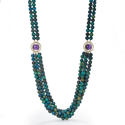 Necklace of azurite malachite beads, amethyst, 18k yellow gold