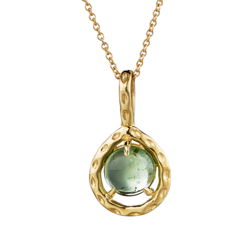 green tourmaline cabochon gold necklace