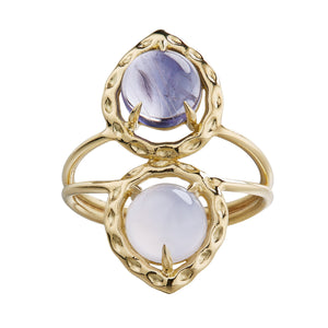 cabochon iolite and chalcedony 18k yellow gold ring