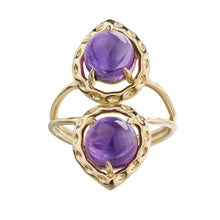 duo of amethyst cabochon 18k yellow gold ring