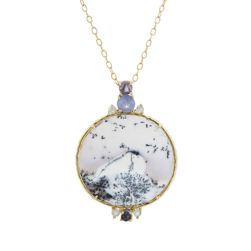 Snowball chalcedony,iolite, chalcedony, a star sapphire and rose-cut diamonds, 18k yellow gold