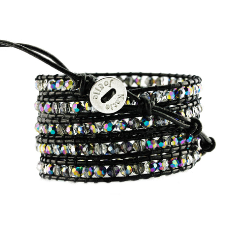 Aurora Borealis Crystals on Black Leather Wrap Bracelet