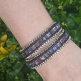 Square Cut AB Glass Crystal with Silver Chain on Dark Brown Vegan Cord Wrap Bracelet