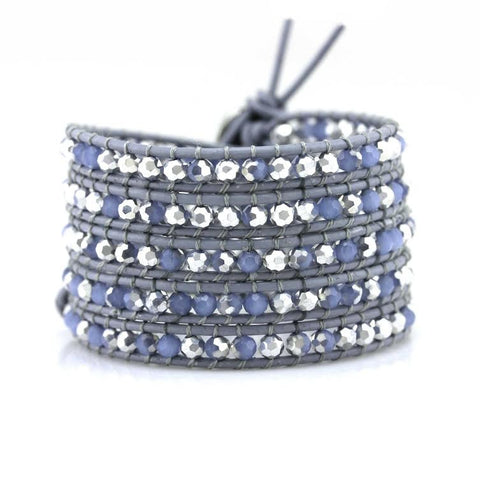 Aquamarine and Silver Two Toned Crystals on Grey Leather Wrap Bracelet