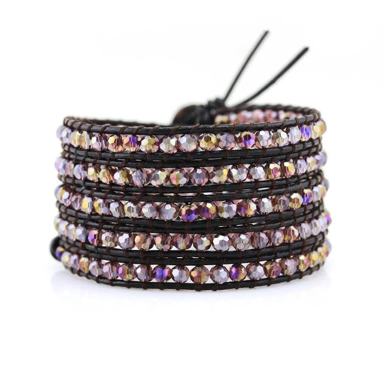 Amethyst Crystals on Dark Brown Leather Wrap Bracelet