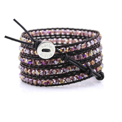 Image of Amethyst Crystals on Dark Brown Leather Wrap Bracelet