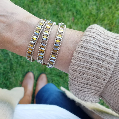 Autumn Mixed Hematite on Caramel Vegan Cord Wrap Bracelet