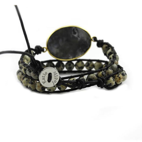 Image of Black Druzy and Dalmatian Jasper Double Wrap Bracelet on Black Leather