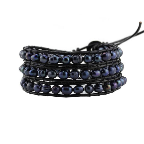 Image of Peacock Black Freshwater Pearls on Black Leather Wrap Bracelet