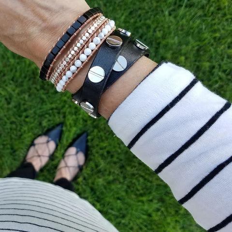 Image of Black and White Turquoise with Silver Nuggets on Natural Leather Wrap Bracelet
