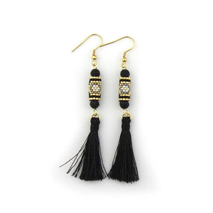 Black and Gold Miyuki Tassel Earrings
