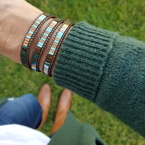 Image of Blue-Green and Bronze Hematite on Bronze Vegan Cord Wrap Bracelet