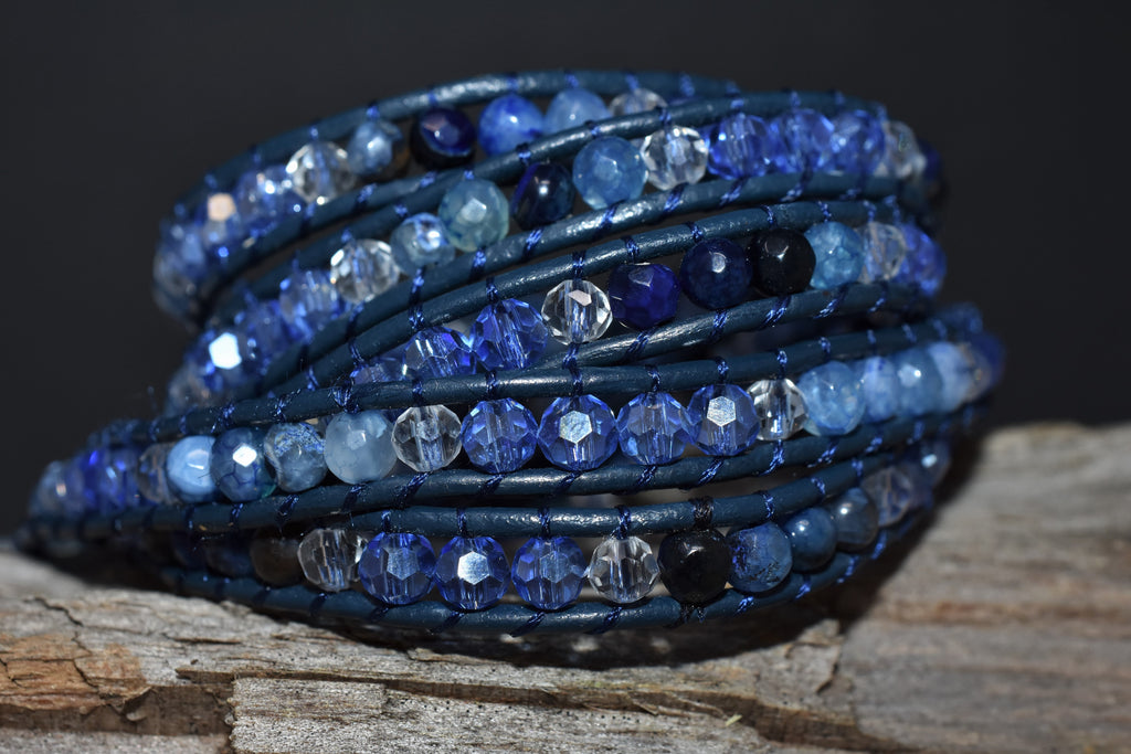 Blue Agate and Crystals Five Wrap on Blue Leather