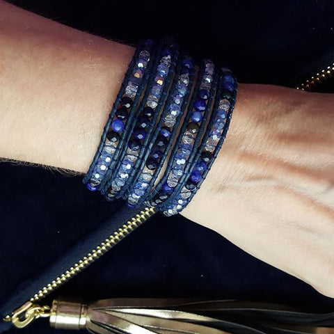 Image of Blue Agate and Crystals Five Wrap on Blue Leather