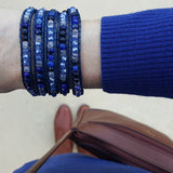 Blue Agate and Crystals on Dark Blue Leather Wrap Bracelet