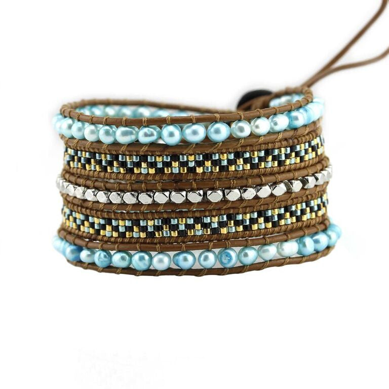 Turquoise Freshwater Pearls with Miyuki Glass Seed Beads on Brown Leather Wrap Bracelet
