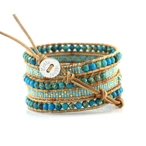 Image of Blue Imperial Jasper with Turquoise Miyuki Glass Seed Beads on Natural Leather Wrap Bracelet