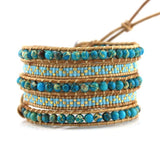 Blue Imperial Jasper with Turquoise Miyuki Glass Seed Beads on Natural Leather Wrap Bracelet