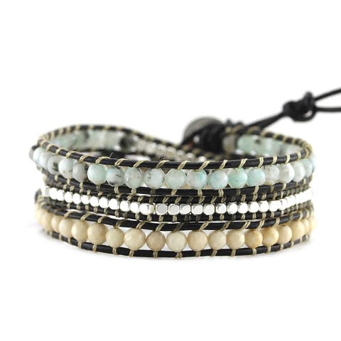 Image of Blue Tianshan and Ivory Stone with Silver Nuggets on Black Leather Wrap Bracelet