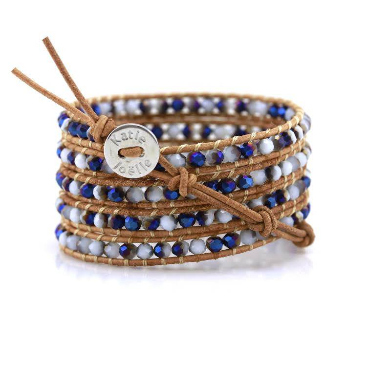 Blue and White Jade on Natural Leather Wrap Bracelet