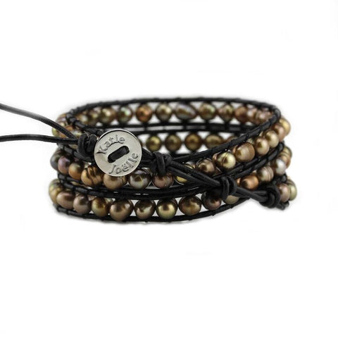 Image of Bronze Freshwater Pearls on Black Leather Wrap Bracelet