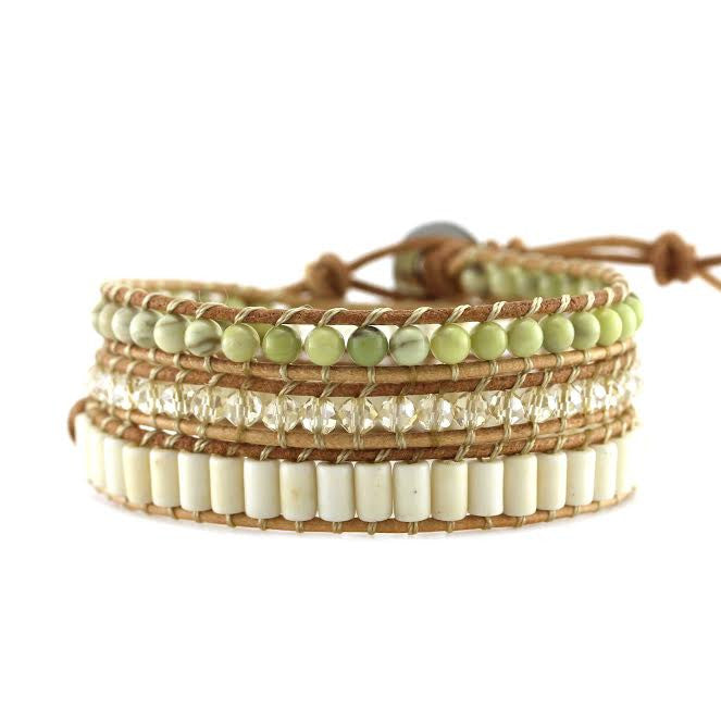 Butter Jade, White Turquoise and Crystals on Natural Leather Wrap Bracelet