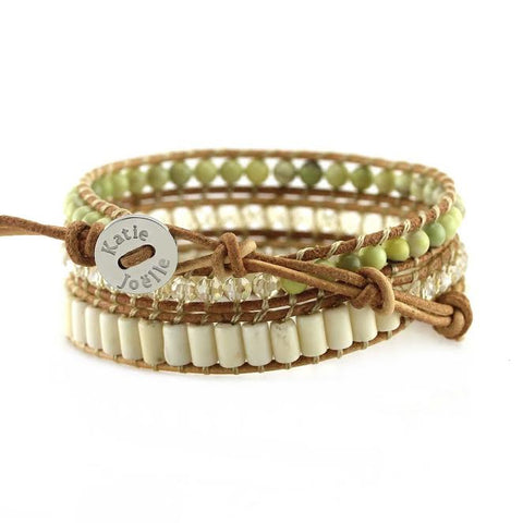 Image of Butter Jade, White Turquoise and Crystals on Natural Leather Wrap Bracelet