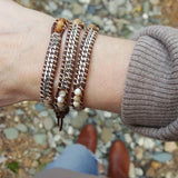 Shell, Crystal, and Stone with Silver Chain on Brown Leather Wrap Bracelet