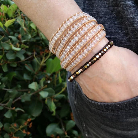 Image of Clear Crystals on Natural Leather Wrap Bracelet