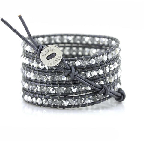 Clear and Silver Crystals on Metallic Grey Leather Wrap Bracelet