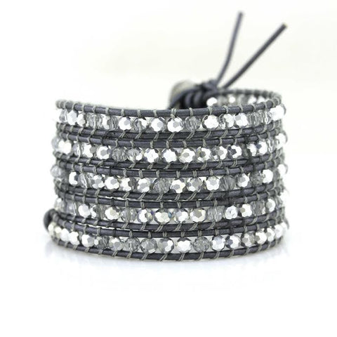 Image of Clear and Silver Crystals on Metallic Grey Leather Wrap Bracelet