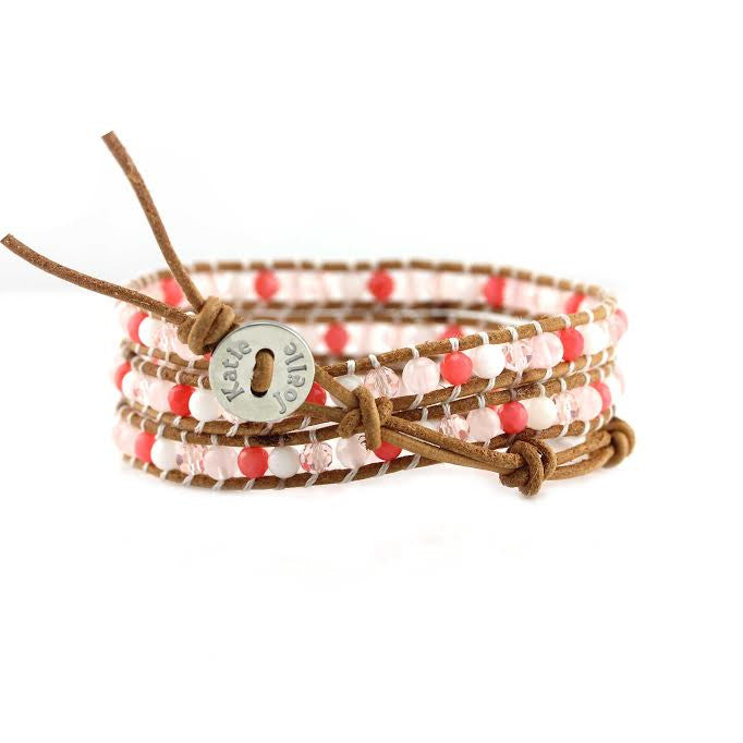 Coral Mix on Natural Leather Wrap Bracelet