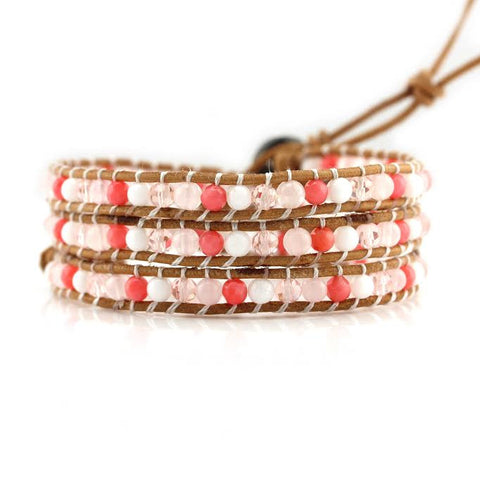 Image of Coral Mix on Natural Leather Wrap Bracelet