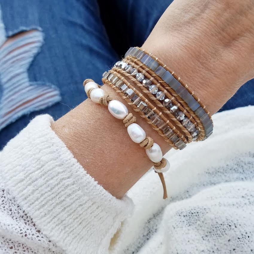 Freshwater Pearls on Natural Single Leather Wrap Bracelet
