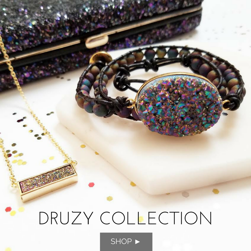 Rainbow Druzy and Rainbow Druzy Beads Double Wrap Bracelet on Dark Brown Leather