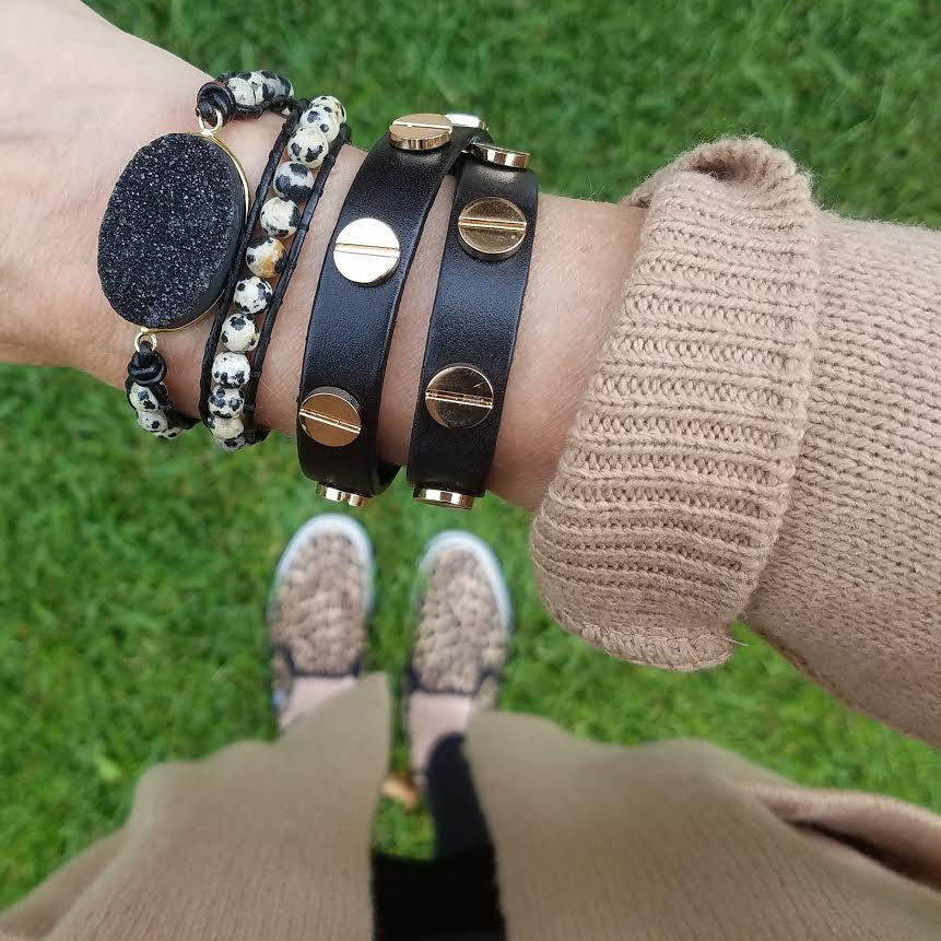 Black Druzy and Dalmatian Jasper Double Wrap Bracelet on Black Leather