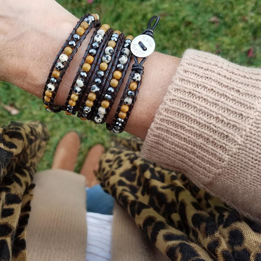 Dalmatian Jasper, Wood Jasper and Hematite on Dark Brown Leather Wrap Bracelet