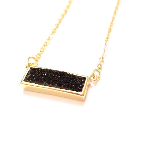 Druzy Bar Pendant Necklace in Black