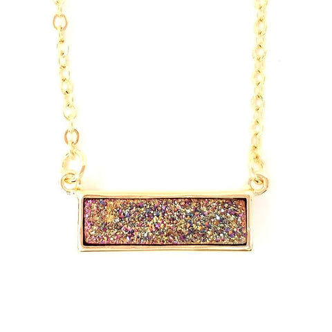 Druzy Bar Pendant Necklace in Rainbow