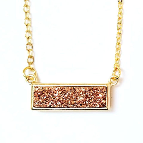 Druzy Bar Pendant Necklace in Rose Gold