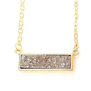 Druzy Bar Pendant Necklace in Platinum Silver