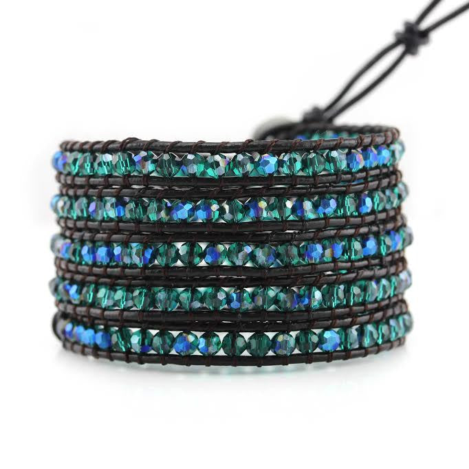 Emerald AB Crystals on Dark Brown Leather Wrap Bracelet