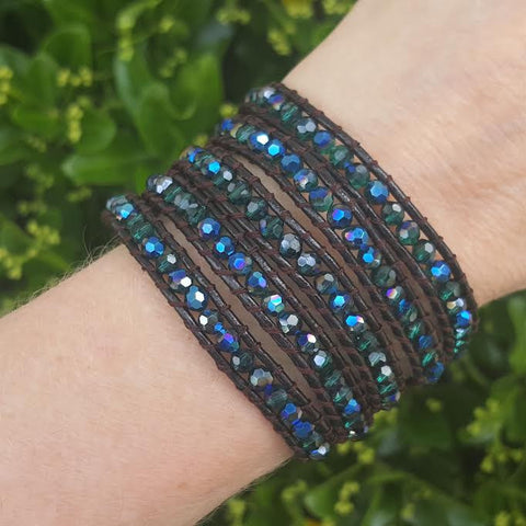 Image of Emerald AB Crystals on Dark Brown Leather Wrap Bracelet