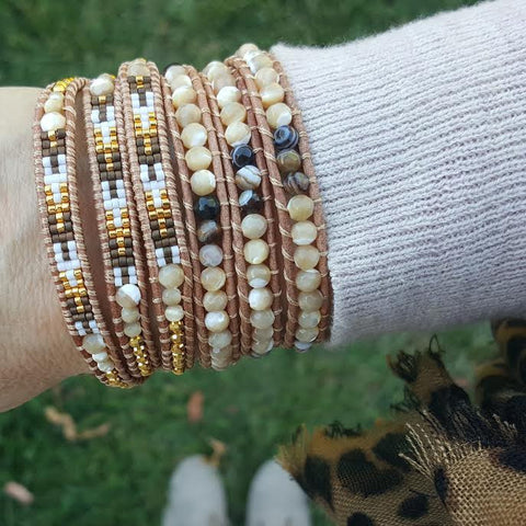 Image of Shell and Gold with Miyuki Glass Seed Beads on Natural Leather Wrap Bracelet