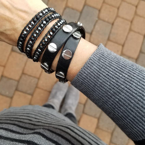 Image of Silver Studded Black Leather Double Wrap Bracelet