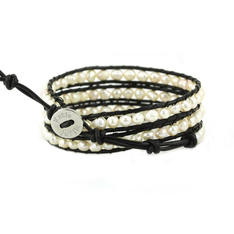 Image of Freshwater Pearls on Black Leather Wrap Bracelet