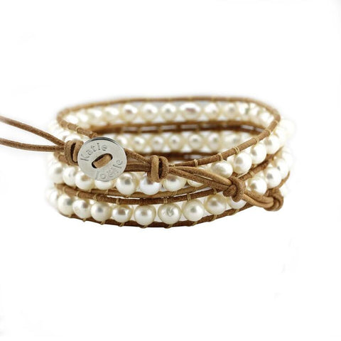 Image of Freshwater Pearls on Natural Leather Wrap Bracelet