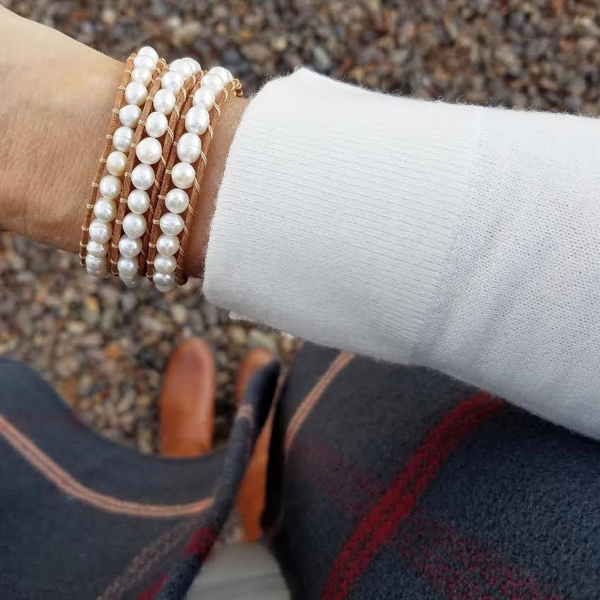 Freshwater Pearls on Natural Leather Wrap Bracelet