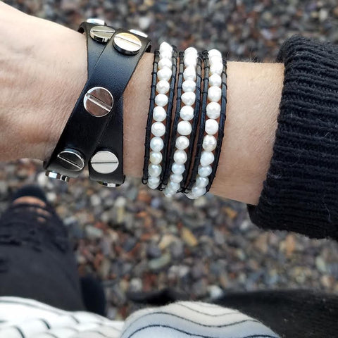 Freshwater Pearls on Black Leather Wrap Bracelet